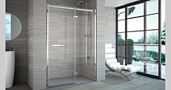 Merlyn 8 Series Frameless Hinge Door & Inline Panel with Tray