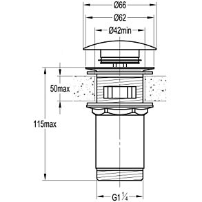 Flova Universal Basin Clicker Waste - Brushed Nickel